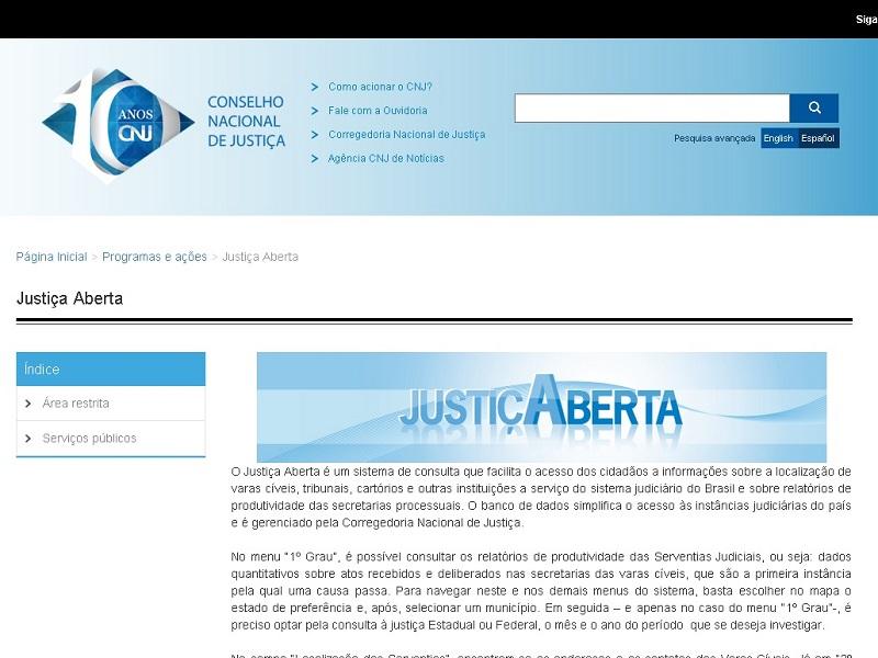 Página do projeto Justiça Aberta