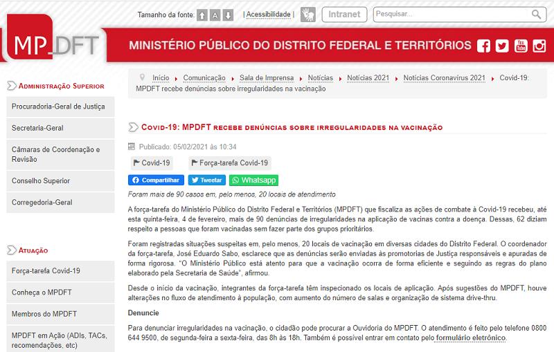 Notícia MPDFT